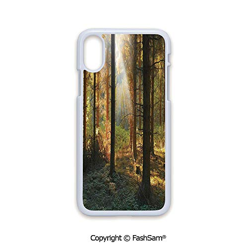 Plastic Rigid Mobile Phone case Compatible with iPhone X Black Edge Sunset View of Dark Pine Forest in Autumn Foggy Scene with Sunbeams Trunks Shadow 2D Print Hard Plastic Phone Case
