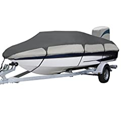 The Orion heavy duty boat covers collection features high strength polyester fabric designed for extra durability and all-weather protection, fabric coating technology and heavy-duty fabric for maximum water-resistance and repellency, resista...