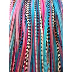 """Feather Hair Extension 6""""-11"""" Gorgeous Light Pink Grizzly ,Turqoise,blue, White & Origianl Grizzly Feather for Hair Extension-5 Feathers"""