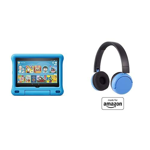 Fire HD 8 Kids Tablet 32GB Blue with Poptime (Ages 8-15) Bluetooth Headset