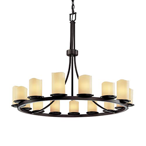 - Justice Design Group CandleAria 15-Light Chandelier - Dark Bronze Finish with Cream Faux Candle Resin Shade