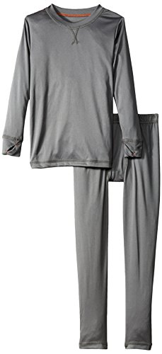 - Cuddl Duds Boys' Big Climate Smart Essential Poly Two-Piece Thermal Set, Gray Solid, Medium