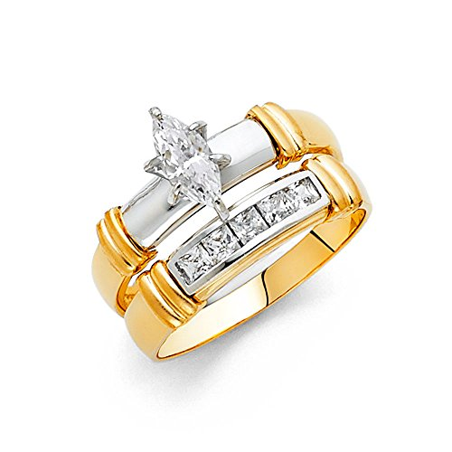 Wellingsale Ladies Solid 14k Two 2 Tone White and Yellow ...