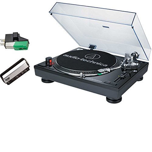 Audio-Technica AT-LP120-USB Professional Turntable (Black) with Extra AT95E Cartridge & Knox Vinyl Brush Cleaner by Audio-Technica