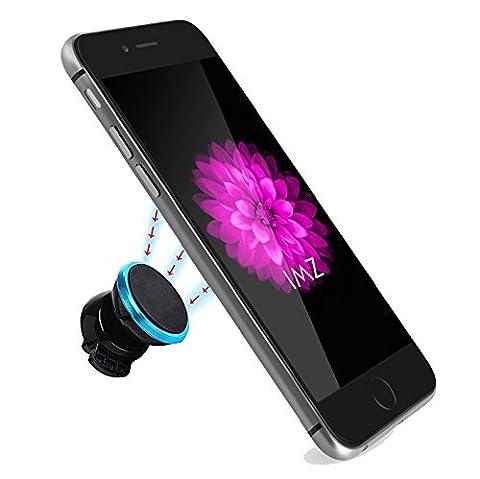 Car Mount, IMZ 360 Adjustable Angle Magnetic Portable Holder GPS Smartphone Air Vent for Apple iPhone 7/7 Plus/6s/6 Plus/5s/5c,Samsung Galaxy S6/S6 Edge/S5,Note 5/4,Nexus,LG G5/G4,HTC M10/M9/M8 (Nexus 4 Anime Case)