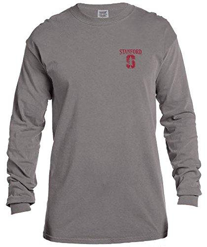 NCAA Stanford Cardinal Vintage Poster Comfort Color Long Sleeve T-Shirt, Medium,Grey