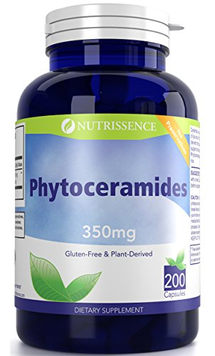 Nutrissence Phytoceramides 350mg 200 Capsules - Gluten Free - Plant Derived Ceramide Supplement - Sweet Potatoes and Rice Based