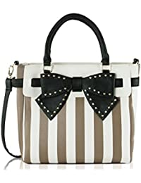 Belted Bow Striped Spice Crossbody Tote Handbag