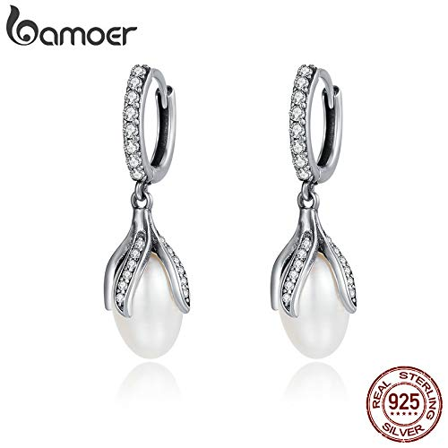 Authentic 925 Sterling Silver Blooming Flower Petal Freshwater Pearl Drop Earrings for Women Luxury Silver Jewelry - Pearl Flower Cultured Petal