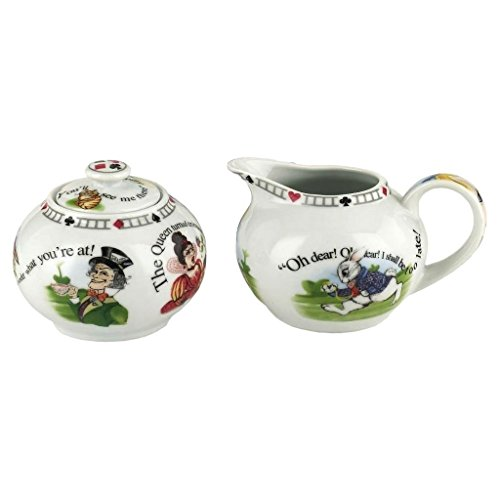 Alice Bowl - Official Cardew Alice in Wonderland 7.25 oz Sugar Bowl and Creamer Set - Boxed