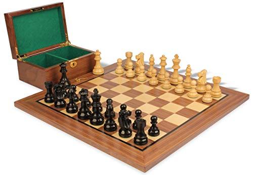 - French Lardy Staunton Chess Set Ebonized & Boxwood Pieces with Walnut Board & Box - 3.75