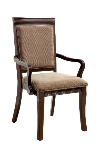 Furniture of America Aiken Formal Padded Fabric Arm Chair, Walnut Finish, Set of 2 (Formal Dining Room Chair Covers)