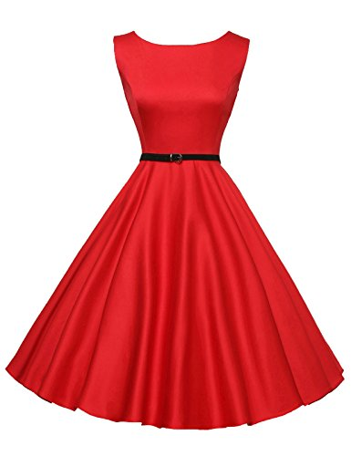 Red Vintage Wiggle Dresses Sleeveless Knee-Length Size L F-12 ()