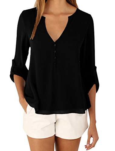 Manzocha Women's Chiffon T Shirt Boyfriend Blouse Cuffed Sleeve Tops – Small, Black1