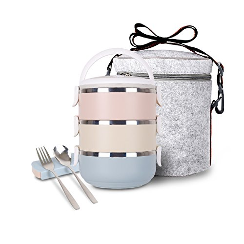 Square Stainless Steel Liner (Unichart Stainless Steel Square Lunch Box Insulated Lunch Bag Lock Container Bag Spoon and Chopsticks Set Food Storage Boxes for work and school (3-Tier) (round lunch box set))