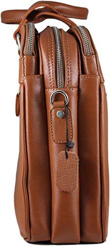 Zavelio Hombres de Negocios Maletín Messenger bolso bandolera de piel auténtica David marrón canela talla única canela