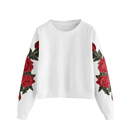 GIFC Fashion Women Long Sleeve Rose Embroidery Applique Sweatshirt O-Neck Pullover Blouses Tops T-Shirts