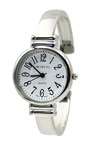 (Women's Classic Silver Tone Easy Read Bangle cuff Watch)