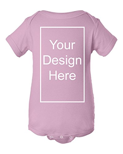 Add Your Own Text and Design Custom Personalized Infant Baby Rib Bodysuit (12 Months, Pink)