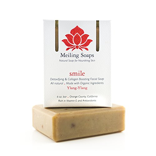 Ylang Ylang Coconut Soap Bar (Smile – Organic Facial Soap Bar w Organic Ylang-Ylang Essential Oil , Collagen Boosting & Detoxifying 6 Ounce Moisturizing Organic Facial Soap Bar by Meiling Soaps)