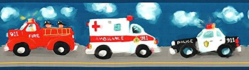 York Wallpaper Border Blue For Kids Room Featuring First Responders Including Police, Fire and Ambulance Vehicles 5 Yards by 6.75 Inches (Fire Border Wallpaper Truck)