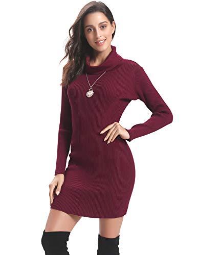 Dolcevita Maglieria Caldo Rosso Eleganti Vino A Regalo vestito Lungo Lunga Girocollo Collo Donna Maglione E Maglioni Vestito Maglieria Invernali Manica Abollria Pullover Alto Ideale vqxXR4gw