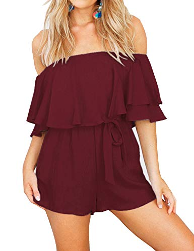 (Relipop Women's Solid Playsuit Double Layer Off Shoulder Front Belted Plain Jumpsuits Rompers Red)