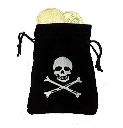 Skull & Crossbones Pirate Buccaneer Pouch with Gold Loot Coins