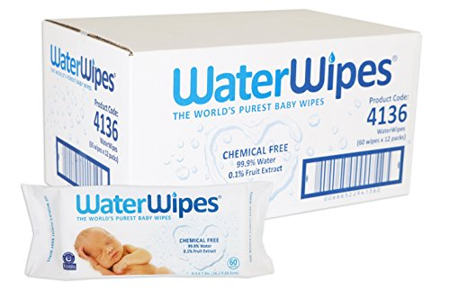 WaterWipes Sensitive Baby Wet Wipes, Natural & Chemical-Free, 12 packs of 60 Count (720 Wipes)