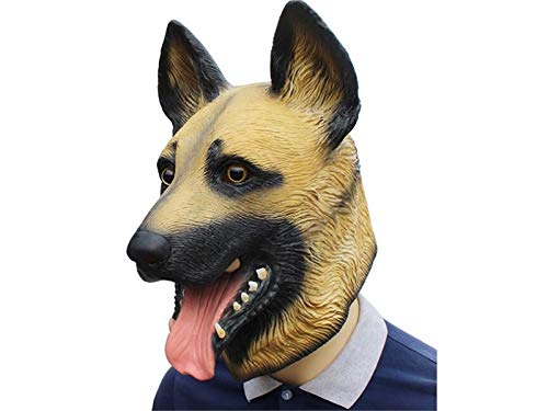 Hezon Happy Festival Creative Latex Wolf Dog Head Cover Mask Funny Ghost Party Mask for Halloween (Brown)