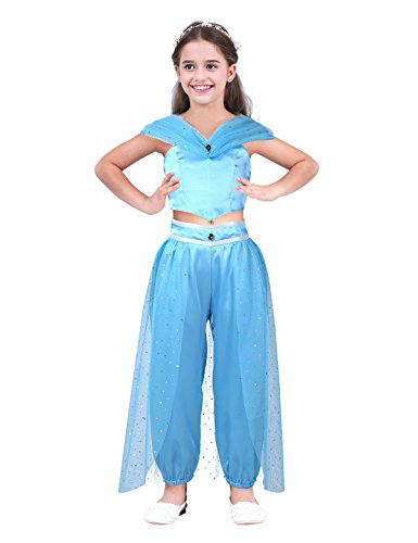 dPois Kids Girls' Princess Jasmine Sequined Glittery Costumes Crop Top with Harem Pants Two-Pieces Cosplay Outfit Set Sky Blue 6 -