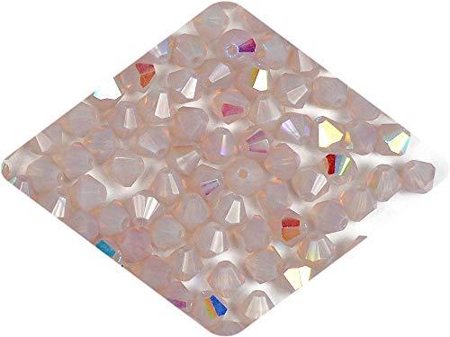 4mm Lila Opal (Milky) AB Coated, Czech MC Bicone Beads (Rondell, Diamond Shape Crystals) 360 - Milky Crystal