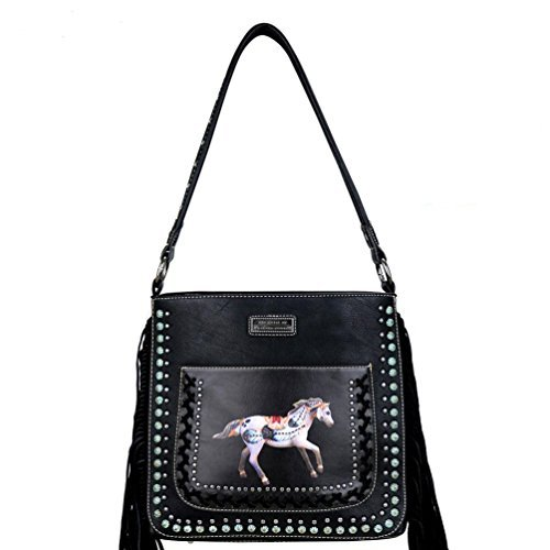 - TPP02G-116 The Trail of Painted Ponies Collection Concealed Carry Hobo Handbag-Black