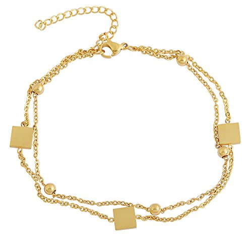 Edforce 18k Gold Plated Double Chain 3 Square Pendant and 5 Ball Pendant Anklet, 8.5