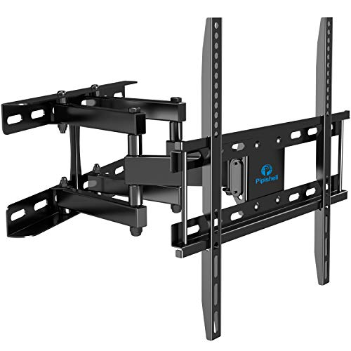 """TV Wall Mount Dual Articulating Arms, Full Motion Swivel Extension Tilt TV Mount, Fits for Most 26""""-55"""" Flat Curved TVs with Max VESA 400x400mm, Supports up to 77lbs by Pipishell"""