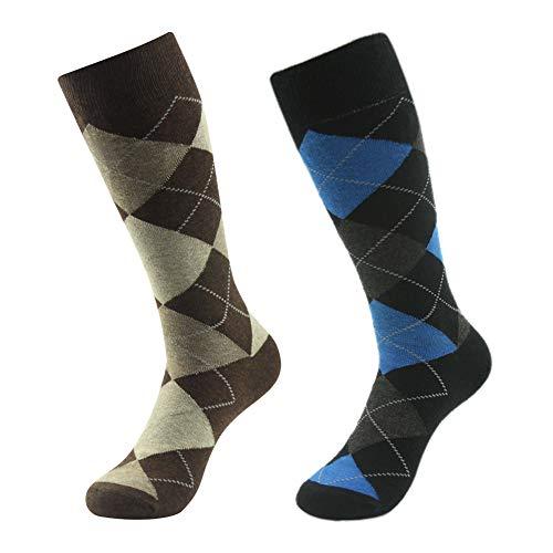 Crew Dress Socks,SUTTOS Men's Office Bussiness Groom Suit Elite Charged Cotton Fashion Blue Black Brown Argyle Nordic Plaids Jacquard Striped Long Tube Mid Calf Funky Crew Dress Socks ()