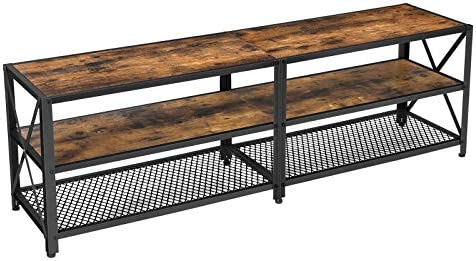 VASAGLE TV Stand for TV up to 60 Inches, TV Table, Entertainment Center, 3-Tier TV Console, Steel Frame, Industrial Style, for Living Room, Rustic Brown and Black ULTV094B01