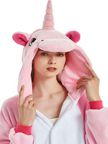 Onesies for Women Adult Unicorn Pajamas Men Teens Girls Animal Halloween Costume,Pink Unicorn With Wing,L Fit Height 66