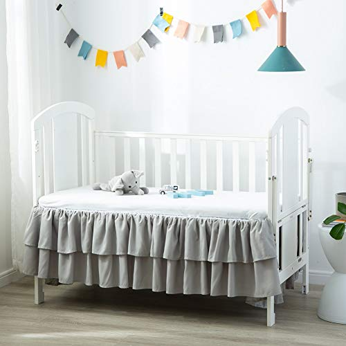 """Komfor Crib Bed Skirt Dust Ruffle Double Layer Brushed Microfiber Nursery Crib Toddler Bedding Skirt for Baby Boys Grey 14"""" Deep Drop from JSD"""