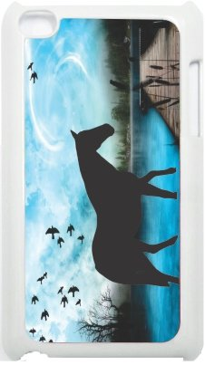 Rikki Knight Horse Silhouette on Blue Lake Design iPod Touch White 4th Generation Hard Shell Case