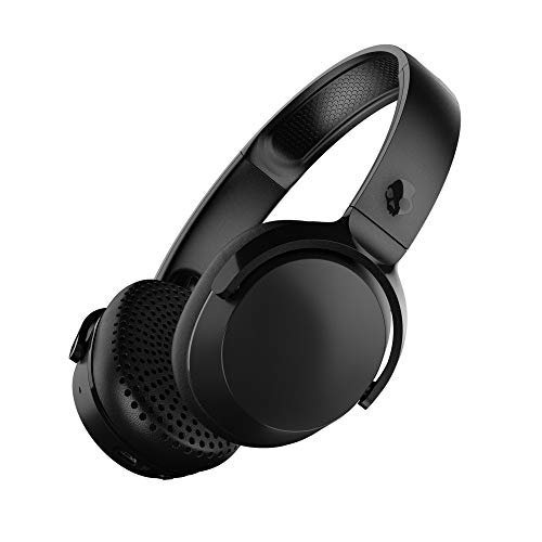 (Skullcandy Riff Bluetooth On-Ear Headphones with Quick Charge 10-Hour Long Battery Life, BT Wireless Microphone, Foldable, Plush Ear Cushions with Durable Headband, Black)