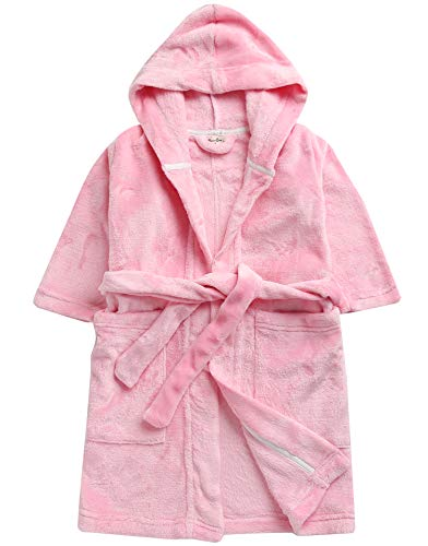 Vaenait baby Plush Fleece Girls Hooded Bathrobes Sleepwear Robes Little Angel Pink S