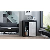 MILANO Sideboard 1D – Single door dresser with High Gloss front finish and LED-illuminated shelves (Black & White)