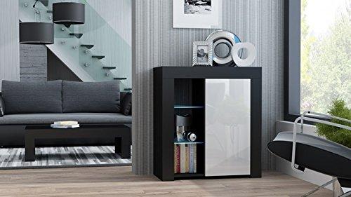 MILANO Sideboard 1D – Single door dresser with High Gloss front finish and LED-illuminated shelves (Black & White) - White Single Dresser