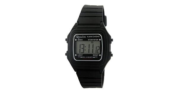 Roselin digital negro, alarma, crono, calendario, 5 ATM: Amazon.es: Relojes