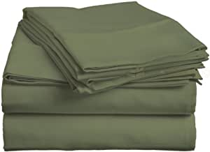 Cama de 600 TC sábanas de algodón egipcio con acabado italiano sólido (Euro rey IKEA, verde)