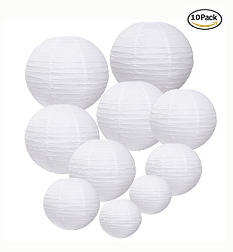 White Round Chinese Paper Lanterns for Wedding and Birthday Party Decorations and Centerpieces, 10 - Pack (4,6,8,10,12)