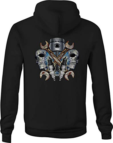 (Zip Up Hoodie Forged Piston with Wrenches - 4XL Black)