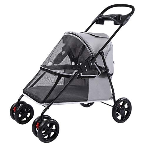 - HWUKONG Pet Travel Stroller 4 Wheels Cat Dog Zipper Entrance, Shockproof, 360° Universal Wheel, Easy Fold&Lnstallation, Canopy Detachable, Loadable 10kg Cat and Dog Pet,Gray