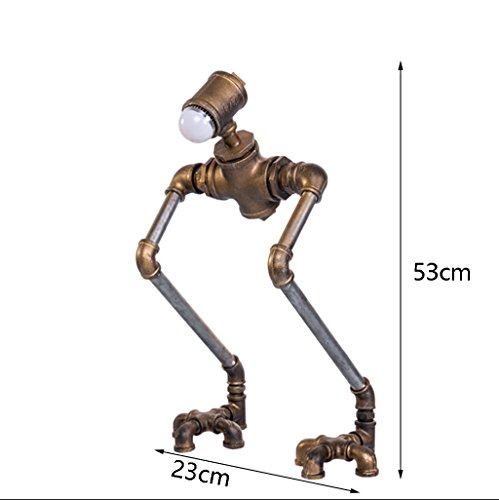 Retro Water Pipe Iron Art LOFT Study Desktop Eye Protection Table lamp/Personality Creative Industrial Wind Bedside Robot Table lamp Size:2353cm by Table Lamps Q (Image #1)